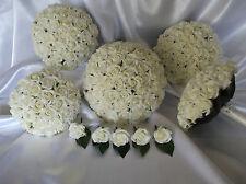 Ivory roses With Diamantes foam Wedding Bridal flower Bouquet Set