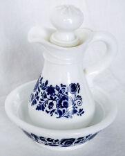 Delft Blue & White Pitcher & Basin Milk Glass Bathroom Set Avon 3 Pieces VTG