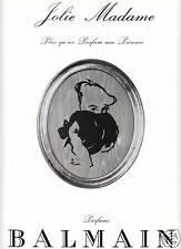 Publicité ancienne parfum de Balmain jolie madame issue de magazine