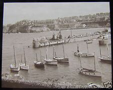 Glass Magic lantern slide  NEWQUAY - BOATS IN HARBOUR C1920 ENGLAND L66