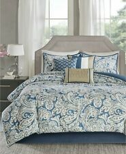 Madison Park Gabby 7-Pc. Cotton Paisley Comforter Set - KING - Blue