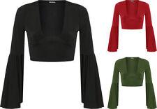 Magliette da donna nero in poliestere con scollo a v