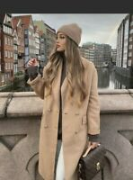 ZARA AW2020 WOOL BLEND COAT CAMEL SIZE S LONG BLOGGERS FAVE SOLD OUT BNWT