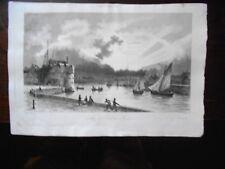 GRAVURE sur ACIER 1837 signée JUGELET:  ENTREE du PORT du HAVRE