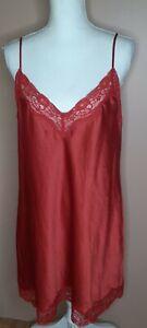 Calvin Klein Womens Slip Chemise Nightie Sz Large Red Lace Trim Satin Nightgown