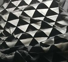 "Burnout Silk VELVET Fabric BLACK TRIANGLES 9""x22"" remnant"