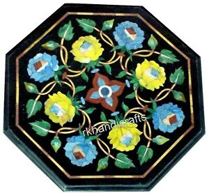 12 Inches Black Bed End Table Top Multi Stone Flower Art Marble Coffee Table