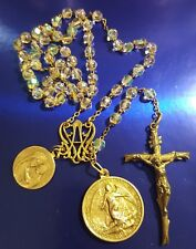 ANTIQUE ROSARY 1800 CRYSTAL AURORA BOREALIS MEDALS MARY ANGELS sterling PIUS XI