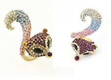 R211 Betsey Johnson Little Purple Fox Wolf Pink Vixen with Blue Gem Ring US