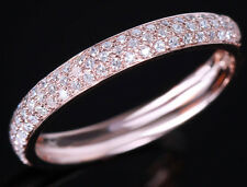10K ROSE GOLD PAVE DIAMOND WEDDING HALF ETERNITY BAND ENGAGEMENT RING SIZE 6.5