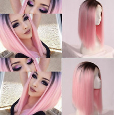 2017 WIG Pink Ombre Long Straight Hair Short Wigs for Black Women Synthetic Wigs