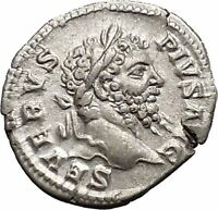 SEPTIMIUS SEVERUS 201AD Silver Ancient Roman Coin ROMA with Victory   i51126