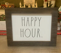 """Rae Dunn - HAPPY HOUR - Wooden Sign- 9"""" X 7"""" - White/Black Letters - NWT"""