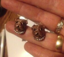 LONDON DESIGNER 3D PUG DOG,MOPS PUPPY HEAD CUFFLINKS ,BRONZE & CRYSTALS