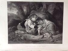 NIÑOS EN BOSCO duermen un Acero media XIX siglo ROYAL COLLECTION