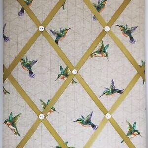 Hand Made Fabric Notice Board In A Hummingbird Fabric