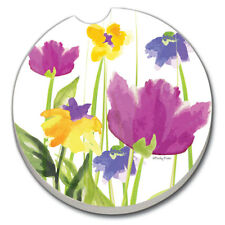 SET OF 2 - Absorbent Car Coasters- HERITAGE- FLOWERS- New!  FREE SHIPPING!