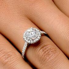 H/SI1 Round Cut Diamond Engagement Ring 1.30 CT 14K White Gold Enhanced Real