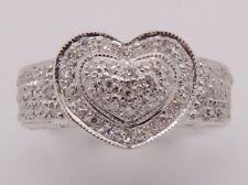 14k WHITE GOLD DIAMOND PAVE HEART RING