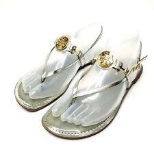 Tory Burch Ali Thong Sandals Silver Gold Slingback Flat Shoes Women's Size 6.5