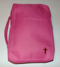 Extra Large Bible Cover, Pink Canvas Book Bag Case with Embroidered Cross Design