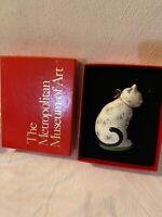 METROPOLITAN MUSEUM OF ART CHALKWARE CAT ORNAMENT W/ BOX ~NIB