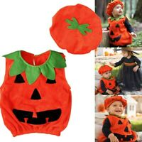 Toddler Baby Boy Girl Pumpkin Vest Tops Hat Halloween Outfit Clothes Costume Set