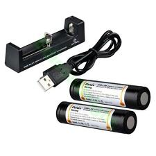 2 X Fenix ARB-L2M 2300mAh rechargeable 18650 Li-ion Batteries w/XTAR MC1 Charger