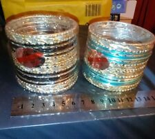NICE SET OF INDIAN WEDDING/PARTY WEAR BANGLES X 2, BLUE /BLACK/SILVER, 24,NEW