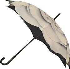 Art Brollies White Rose Flower Design Walking Length Stick Floral Umbrella