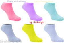 12 Pairs Women Trainer Liner Ankle Sports Socks Colour Design Cotton Mix
