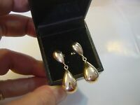 VINTAGE BEAUTIFUL 9CT GOLD EARINGS CHUNKY POLISHED BIG DROPS CLEANED -BEST COND