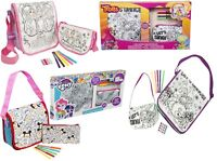 2 Pk Girls Colour Your Own Bag Set Mini Hand bag,Messenger Bag Kids Craft Gift3+