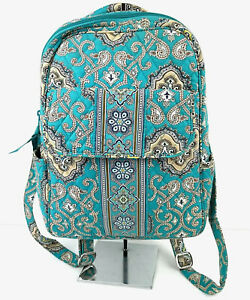 Vera Bradley Totally Turq Small Backpack Quilted Cotton Teal Retired Print New