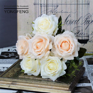 Artificial Roses Flowers White Fake Silk Bridal Bouquet Wedding Party Home Decor