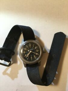Bulova Military Watch, Type A17A, Viet Nam Era. Navigator Hack Watch