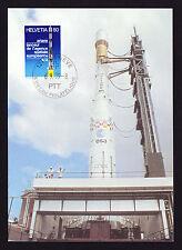 1979 FRANCOBOLLO svizzero Rocket Design per viaggiare nello spazio razzo DESIGN MAXI CARD CARTOLINA