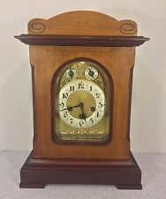 Antique Junghans Bracket Clock with Westminster Chimes Runs Impressed Case