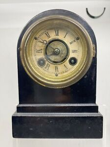 Antique Terry Clock Co Waterbury CT Cast Iron Shelf Desk Clock Working