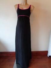 H&M MAMA MATERNITY BLACK & HOT PINK TRIM SLEEVELESS MAXI DRESS SIZE S UK 8-10