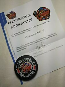 2014 Connor McDavid Erie Otters Autographed Signed Auto Game Puck OHL NHL COA