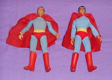 """vintage Mego WORLD'S GREATEST SUPER-HEROES WGSH 8"""" SUPERMAN LOT x2 type 1 type 2"""