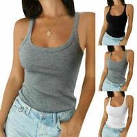 Sommer Damen Schlicht Gerippt Cami Unterhemd Mieder Dehnbar Tank Top T-Shirt U