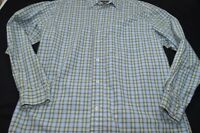 Eddie Bauer Blue White Green Plaid Medium Cotton Long Sleeve Men's Shirt