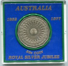 1977  Royal Silver Jubilee British Commemorative Coin UK 50 Cents Coin