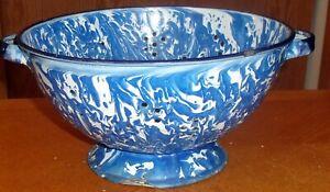 "Antique BLUE & WHITE SWIRL 12"" Colander Graniteware Enamelware"