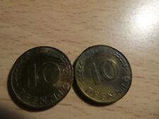 1950 y 1967 Monedas De Alemania 10 Pfennig