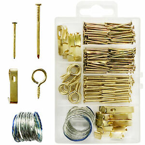 172 Picture Hanging Kit Photo Frame Hooks Brass Nail Wire Set Wall Art