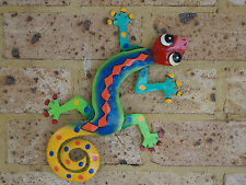 LARGE GECKO Recycled Metal Garden Wall Hanging & Home Patio Deck Decor 44x28cm