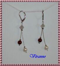 Boucles d'oreille étincelle bordeaux et ivoir N°3. Bijoux mariage.
